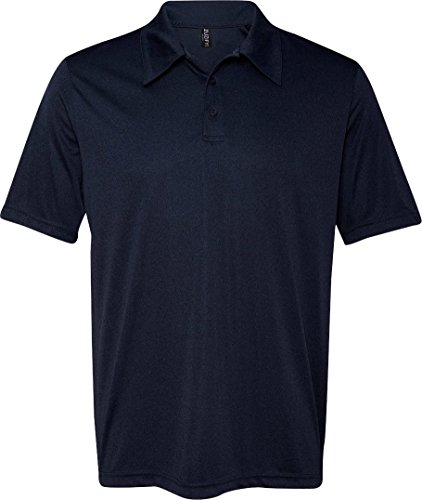 ZUZIFY Mens Performance 3 Button Birdseye Polo Shirt. BD0200 Large Sport Dark Navy -