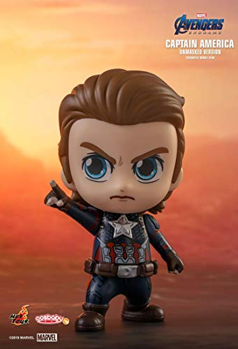 Hot Toys HT Cosbaby Original Captain America Unmasked Version Marvel Bobble Heads Collectible Figures Avengers 4 Endgame Miniature Figurines COSB555 Models Kits Collection Gifts Birthday/Christmas