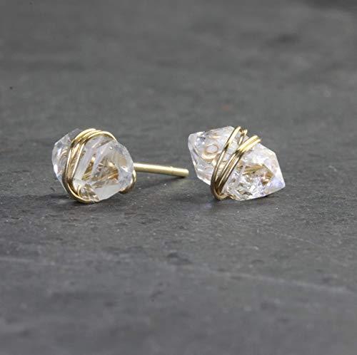 (Herkimer Diamond Solid 14K Gold Wrapped Stud Earrings)
