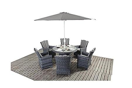 manhattan grey rattan garden furniture 6 seater round dining table