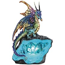 "George S. Chen Imports Light Purple/Green Dragon Stone LED 6 1/4"" high Statue (7871770)"