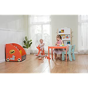 Labebe Wooden Activity Table Chair Set, Fox Printed White Toddler Table for 1-5 Years, Child Furniture/Baby Girl&Boy Furniture/Learning Table/Kid Table Cover/Kid Playroom Furniture/Kid Desk Chair