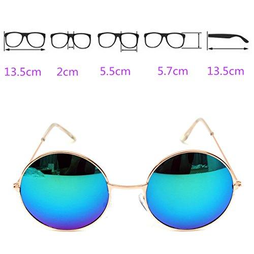 Lunettes de Soleil, OUTERDO Lunettes de Soleil Femme Ronde Rétro Ray Ban UV400 Lentille PC et Cadre Métallique blue