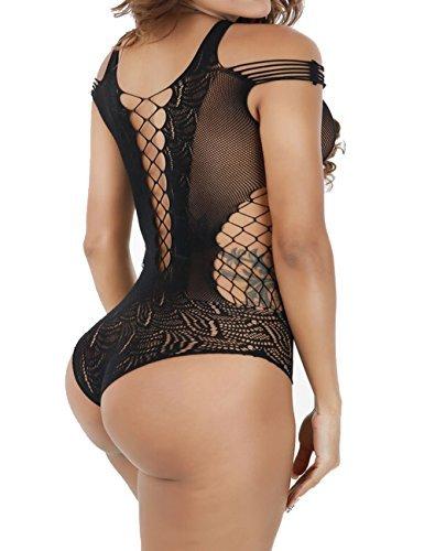 Womens Teddy Sheer Fishnet Mesh Thong Bodysuits Lingerie (black)