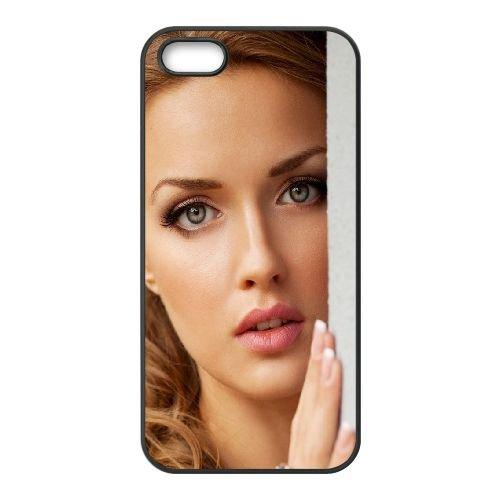 Girl Blonde Face Eyes Hands Charm Tenderness 25342 coque iPhone 4 4S cellulaire cas coque de téléphone cas téléphone cellulaire noir couvercle EEEXLKNBC25283