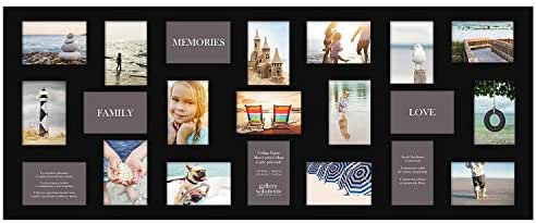Gallery Solutions Flat Wall 21-Opening Collage Frame for 4x6 Images with Black Mat (Pack of 2-)