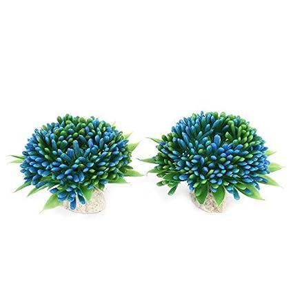 eDealMax Ornamento de la planta de plástico acuario de agua 2 pulgadas de altura 2pcs Verde