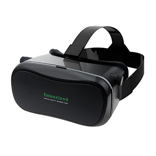 "VR Headset,Emoonland 3D VR Virtual Reality Headset 3D Video Movie Game VR Glasses Headset Head-mounted Headband Adjust Cardboard for 4.0"" - 6.0"" Smartphones iPhone Samsung IOS Android Devices - Black"