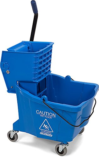 Carlisle 3690414 Commercial Mop Bucket with Side Press Wringer, 35 Quart Capacity, - Mop Professional Blue