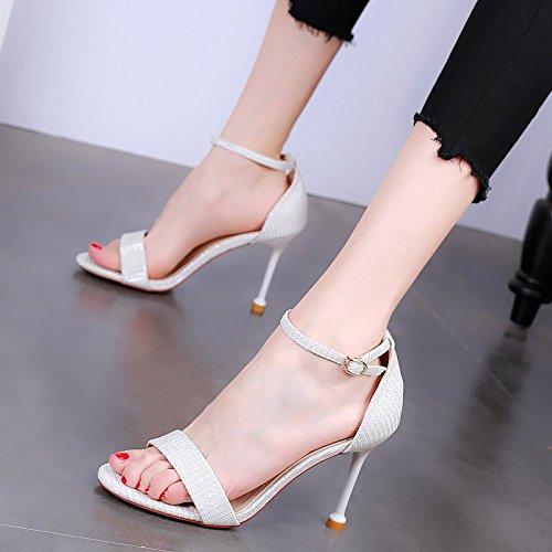 YMFIE Sandalias Simples y Elegantes del Dedo del pie del Estilete de Las Sandalias Abiertas del Verano de Las señoras del Banquete de los Altos Talones 白色