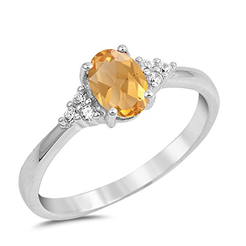 925 Sterling Silver Faceted Natural Genuine Yellow Citrine Oval Ring Size 12 ()
