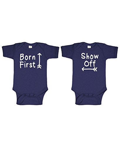 Combo Suit - Born First - Show Off! - Twins Siblings - Two Infant Bodysuit Combo, 3 mo, Navy