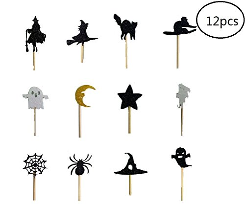 EBTOYS 12pcs Halloween Cupcake Toppers Halloween Cake Picks for Halloween Party Decoration - Cupcakes Decorated Halloween
