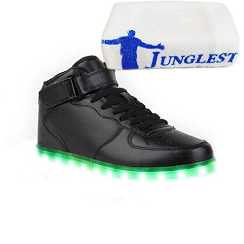 [Present:small towel]JUNGLEST® 7 Farbe USB Aufladen LED Leuchtend Sport Schuhe Sportschuhe Sneaker Turnschuhe für Unisex-Erwach Black High-Top 2l2hw5bGo1