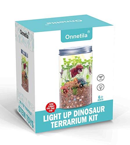Onnetila Dinosaur Fairy Garden in a Jar | Light-up Terrarium Kit for Kids | Grow and Glow STEM Educational Toys for Children