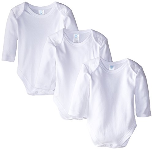 Spasilk 100% Cotton Long Sleeve Lap Shoulder 3-Pack Bodysuit