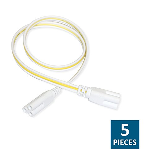 Integrated Link - Barrina 19.6 Inches Connecting Wires Connect Cords for LED T5 T8 Tube Bulbs Integrated Fixture Cable 3 Prong Connector 5-Pack