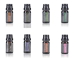 Aromatherapy Oils 100% Pure Therapeutic Grade Basic Essential Oil Gift Set by Wasserstein (Top 8, 10ml)