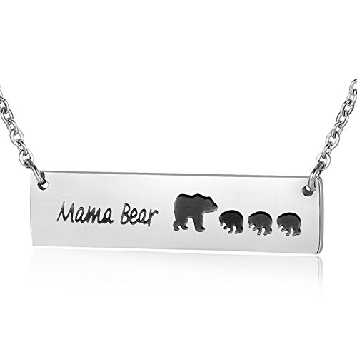 Ensianth Honey Family Mama Bear Bar Necklace Gifts for Mother's Day (Four bear)