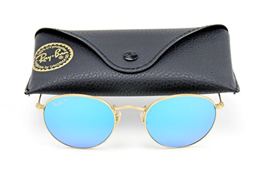 Ray-Ban RB3447 Unisex Round Metal Flash Gradient Sunglasses (Gold Frame/Blue Polarized Mirror Lens 112/4L, - Ray Bans Gradient Blue Flash