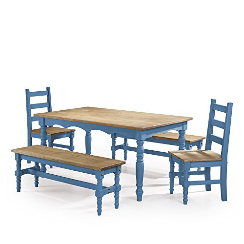 Manhattan Comfort Jay Collection Traditional Pine Wood 5 Piece Dining Set With Trim Design, With 2 Benchs, 2 Chairs, 1 Table Natural (Outdoor Pine Dining Chair)