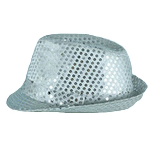 LED Flashing Silver Sequin Jazz Hat Party Novelty Costume Bling (Pictures Of Jazz Dance Costumes)