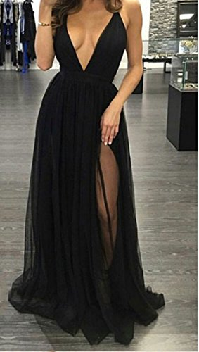 Dreagel Robes De Retour À La Maison De Bal Une Ligne Sexy De Femmes Robe Longue Cocktail Avec Fente Noire B