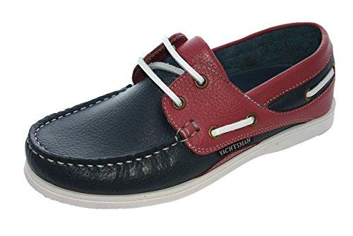 Chaussures bateau en nubuck pour femme Taille 37–41 - Multicolore - Bleu marine/rose,