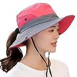Freahap Womens Sun Cap Wide Brim Sun Hat with Ponytail Hole Anti-UV Foldable