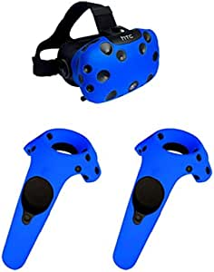 Case for HTC Vive Headset VR Silicone Case Cover VR Glasses Helmet Controller Handle Case Skin Shell Virtual Reality Accessories (Color : Set Blue case)