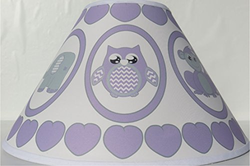 Purple Baby Safari Lamp Shade with Elephants, Owl, Zebra, Giraffe, Hippo, Lion and Monkey Nursery Decor by Presto Lamp Shades