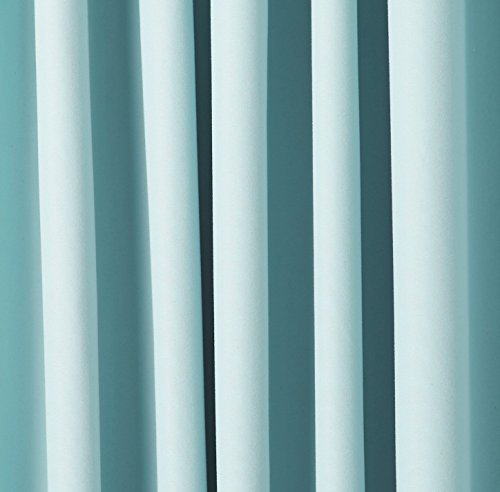 Review AmazonBasics Room Darkening Blackout Curtain Set – 52″ x 63″, Seafoam Green