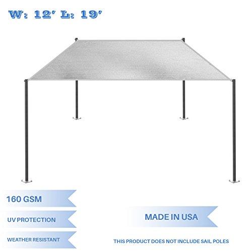 E&K Sunrise 12' x 19' Light Grey Rectangle Sun Shade Sail Outdoor Shade Cloth UV Block Fabric,Straight Edge-Customized Sizes Available by E&K Sunrise