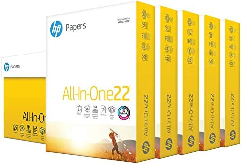 HP Printer Paper 8.5x11 AllInOne 22 lb 5 Ream Case 2500 Sheets 96 Bright Made in USA FSC Certified Copy Paper HP Compatible 207000C