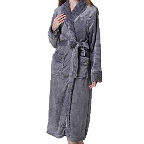Servicio Para Pijamas Espesar Cálido Punto Albornoz Código Mujeres Franela Dama Gris Mujer Invierno Bata Casuales De Largo qCdE76q
