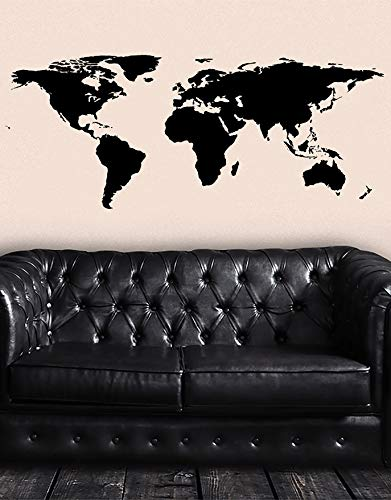 - Stickerbrand Black World Map Wall Decal Sticker Home Decor Vinyl Wall Art. Large (30in X 75in) Die-Cut Size. Removable.