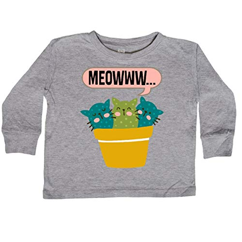 inktastic Catcus Kitty Cat Meow Toddler Long Sleeve T-Shirt 2T Athletic Heather