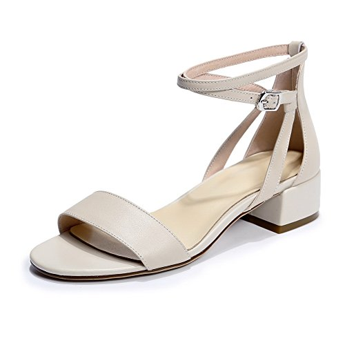 AdeeSu Womens Sandals Cold Lining Huarache Soft-Ground Dress Heeled Road Smooth Leather Buckle Urethane Sandals SLC03481 Apricot
