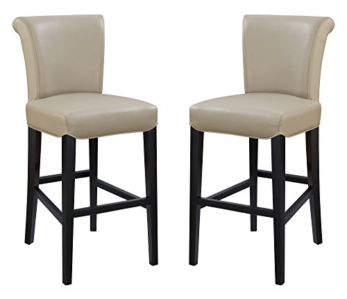 Emerald Home Furnishings Briar III Wheat Grass 30'' Bar Stool with Faux Leather Upholstery Set of Two 30' Wheat Bar Stool