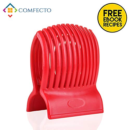 Multiuse Tomato Slicer Holder with Firm Grip Ergonomic 13 Dividers Design for Precise Cuts Slicing Shredding Tomatoes Lemons Potatoes Round Fruits Vegetables with Bonus eBook (Safe Kid Slicer Tomato)