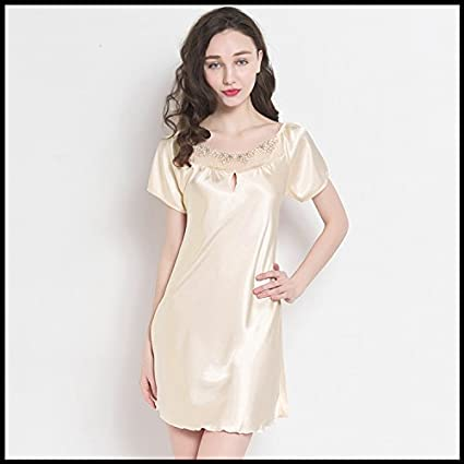 WXIN Pijama Mujer Camisón De Manga Corta /Seda /Hielo Suelto /Home Desgaste/