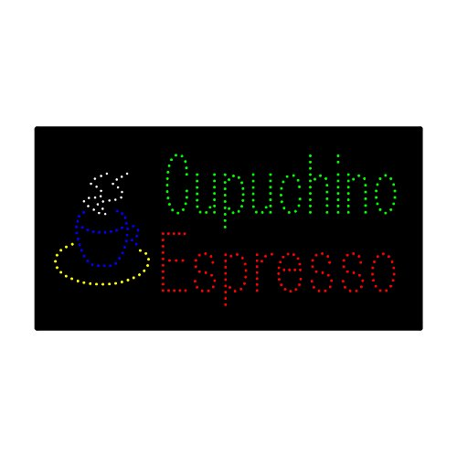 HIDLY LED Coffee Cafe Espresso Cupuchino Open Light Sign Super Bright Electric Advertising Display Board for Message Business Shop Store Window Bedroom (27 x 15 inches) -