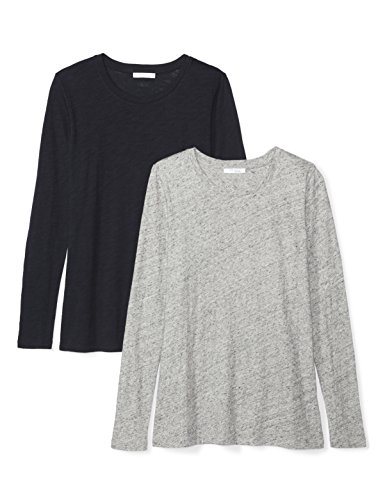 Daily Ritual Womens Washed Cotton Long-Sleeve Crew Neck T-Shirt