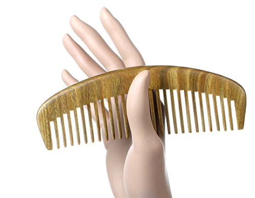 Fedol Aromatic Green Sandalwood Wide Tooth Comb. Anti Static Wooden Comb -- Size Medium: 6 1/4 x 2 1/4 Inches. (Wide Tooth). Free Gift Bag.