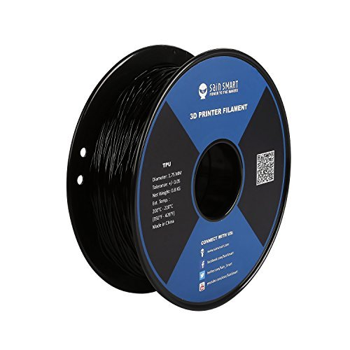 SAINSMART 1.75mm Flexible TPU 3D Printing Filament, Dimensional Accuracy +/- 0.05 mm, 0.8 KG Spool, 1.75 mm, Black (Optional Fan Kit)