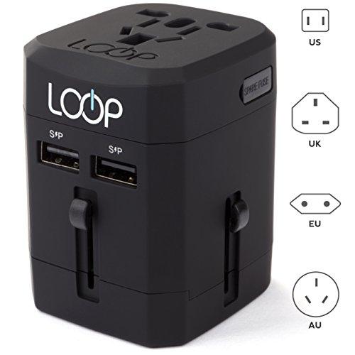Loop World Adapter Plug, Worldwide Travel Adapter Charger [US UK EU AU/CN] w/Dual USB Charging Ports & Universal AC Socket - Safety Fused (Black) by LOOP