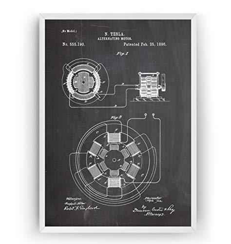 Tesla Patent Print - Alternating Motor - Engineering Gift Engineer Science Vintage Blueprint Wall Poster Art - Frame Not Included