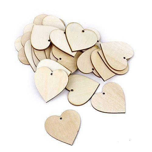 WopenJucy Adornos de madera en forma de coraz/ón para manualidades 4 x 4 cm 25 unidades