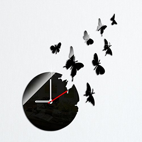 VORCOOL 3D Black Butterfly Clock Removable DIY Acrylic Mirror Wall Decal Wall Sticker Decoration for Bedroom Living Room by VORCOOL
