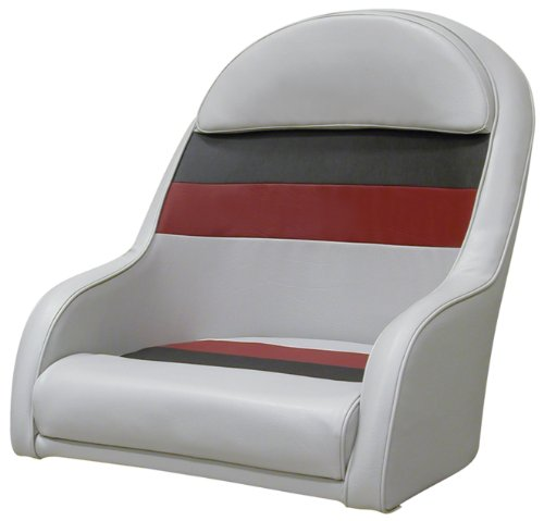 Captains Bucket - Wise 8WD120LS-1012 Pontoon Captains Bucket Seat, Gray/Charcoal/Red